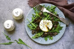 Arugula or Mizuna salad with poached eggs