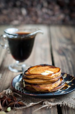 Sweet Potato (or winter squash) and Pecan Pancakes