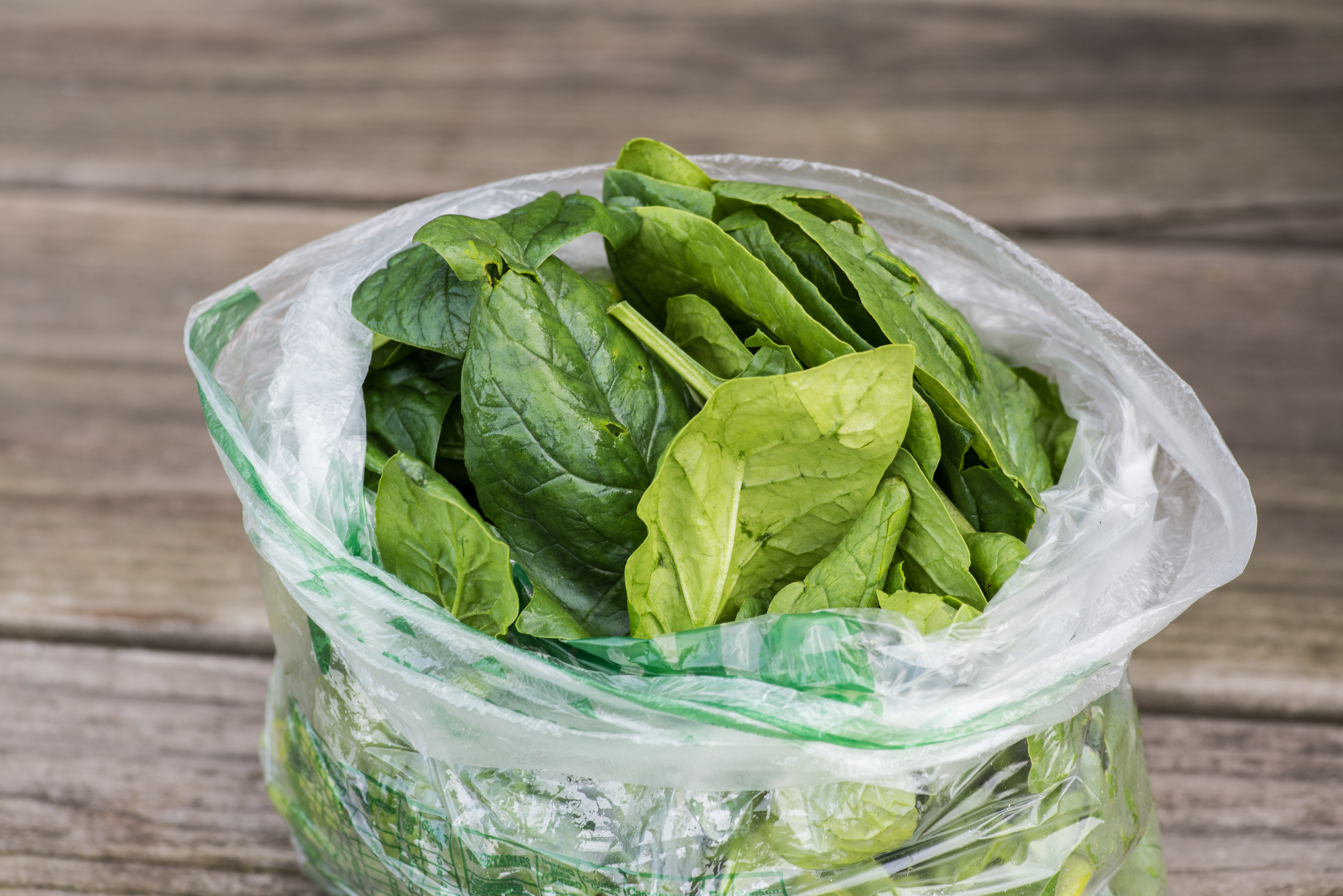 Bag of fresh spinach