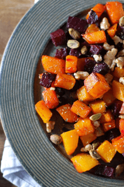Plate of maple roasted squash and beets